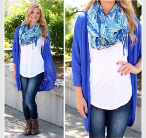 scarf and blue cardigan outfit
