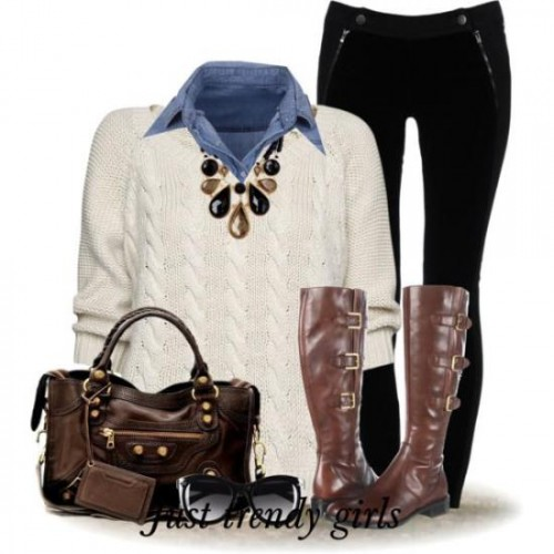 Burgundy boots outfit