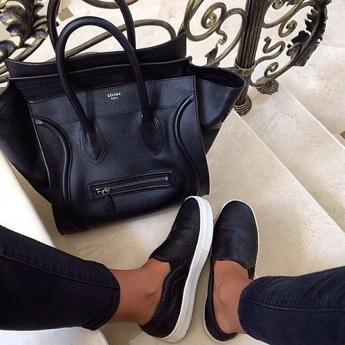 celine bag with slip on shoes
