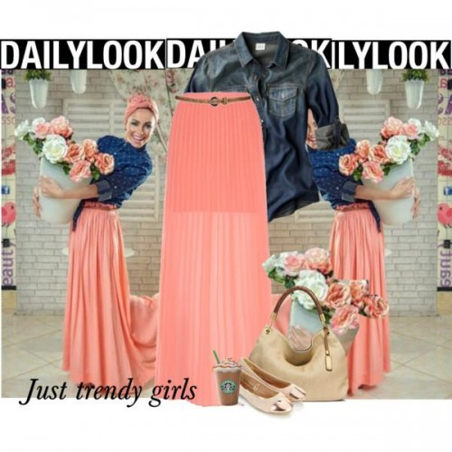 coral maxi skirt hijab look,