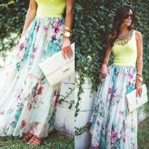 street style floral maxi skirt