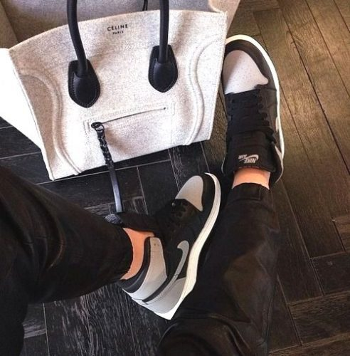 gray celine with nike shoes
