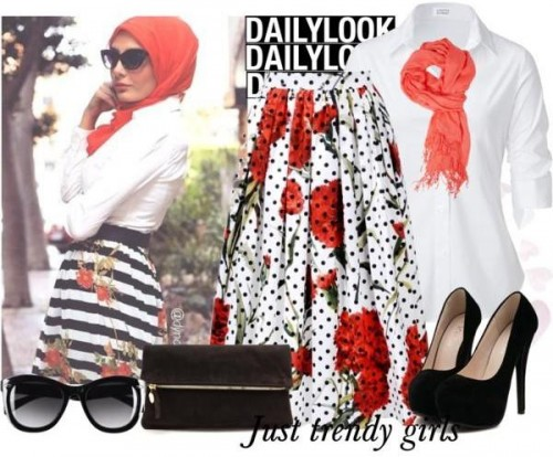 floral skirt hijab look