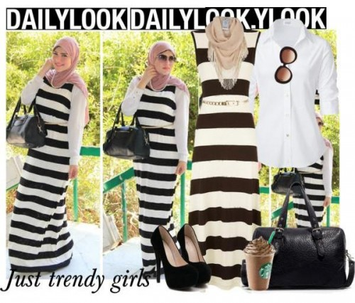 stripe maxi dress hijab look