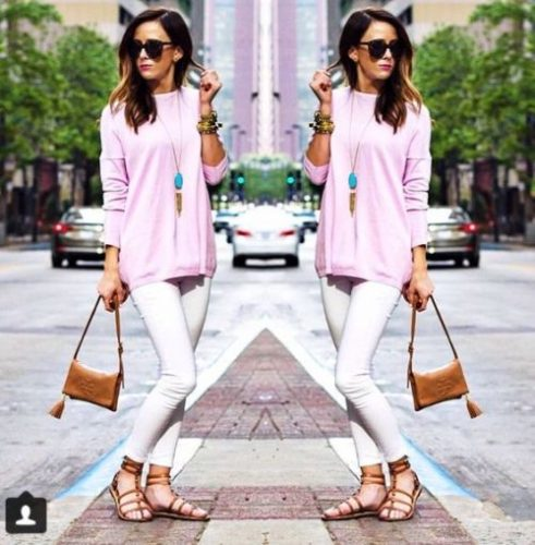 pink blouse spring outfit