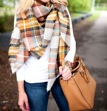 plaid yellow scarf