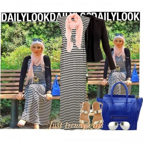 stripe maxi dress hijab look,