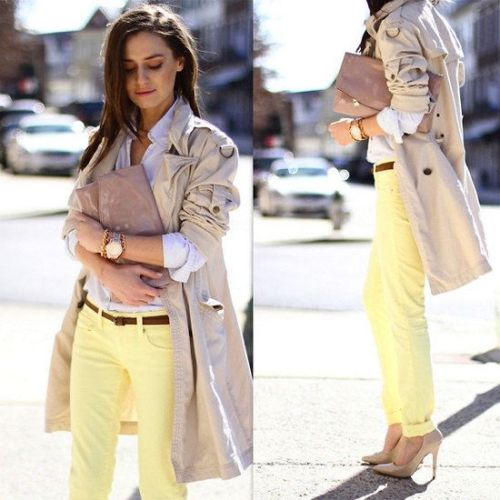 trench jacket yellow pants