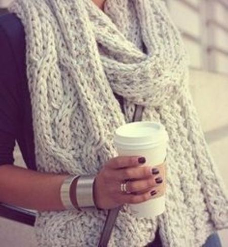 white knit scarf