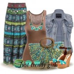 tribal boho maxi skirt with denim vest
