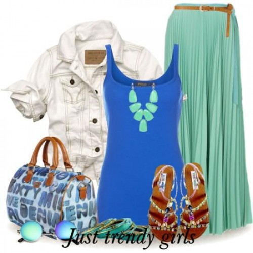 Color blocked outfit in cobalt and emerald