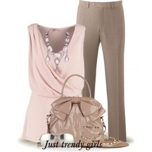blush pink blouse and nude pant outfit