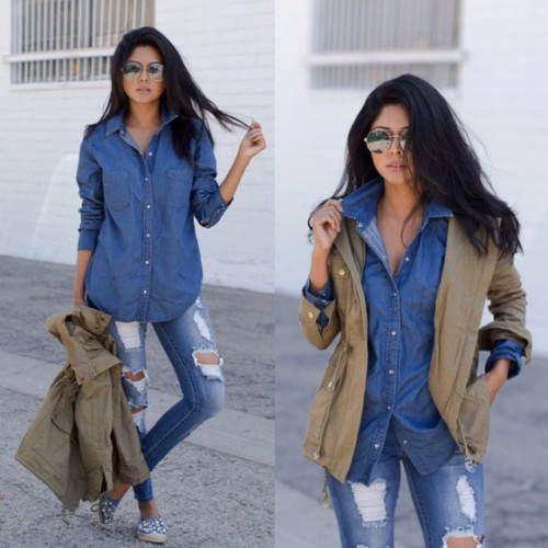 blue denim with military jacket