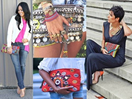 ideas Ethnic beaded Clutch Bag