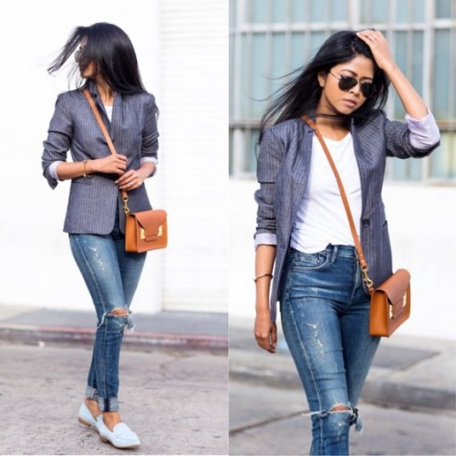 blazer with denim street style look