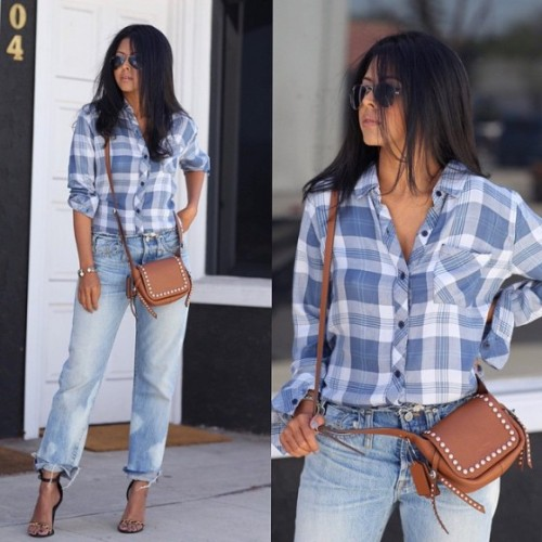 button-down checked shirt
