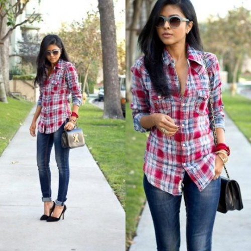 checked shirt with jeans