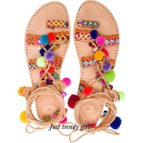 colorful details flat beach sandals