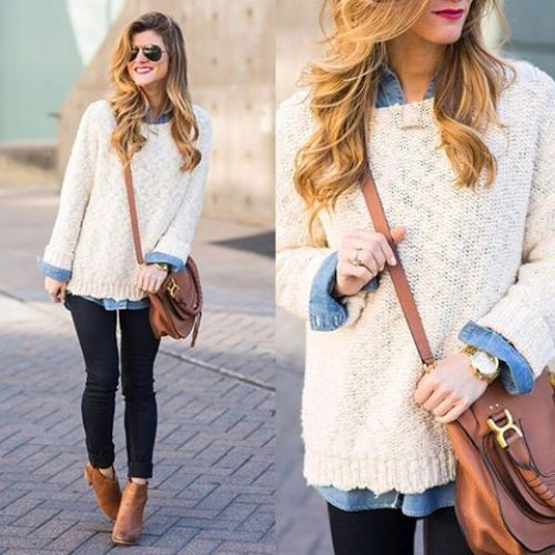 creamy sweater with denim shirt