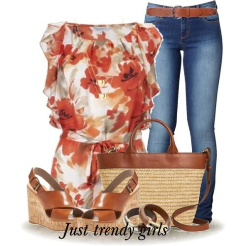 chiffon tunic with straw bag