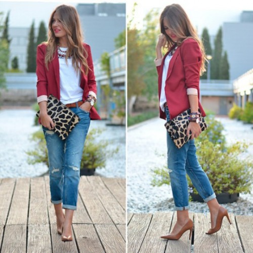 red blazer with boyfriend jeans
