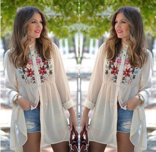 white casual printed tunic