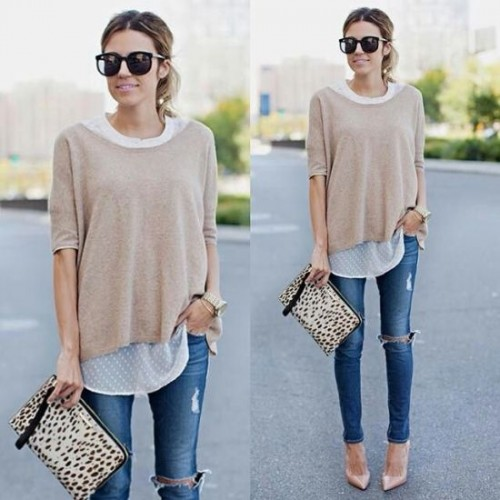 neutral tee with denim