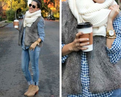 plaid blue shirt with fur vest