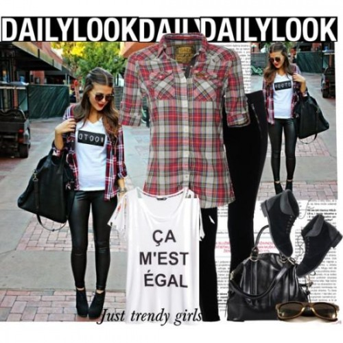 Plaid Shirt and Graphic Tee