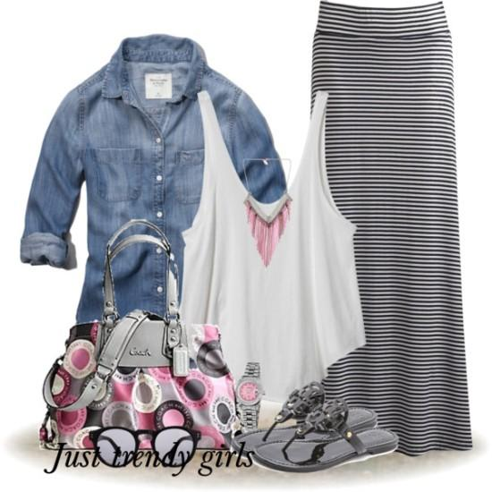 Casual Maxi Skirt Outfit Ideas