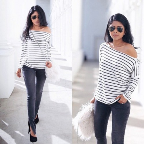 one shoulder stripe blouse