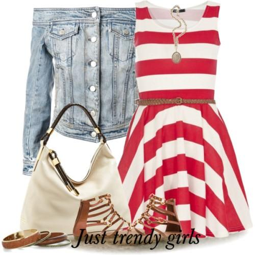 red striped short dress