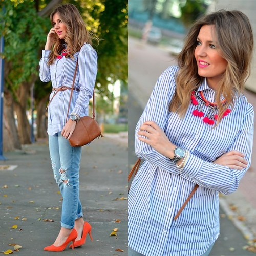 stripes button-down shirt