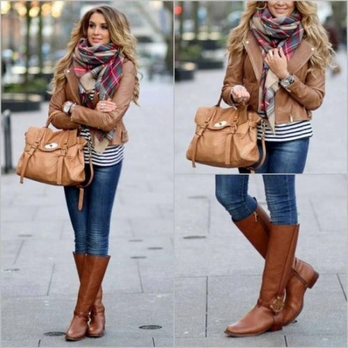 stylish cognac jackets and boots