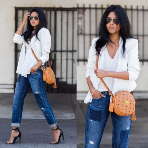 white blazer with white blouse