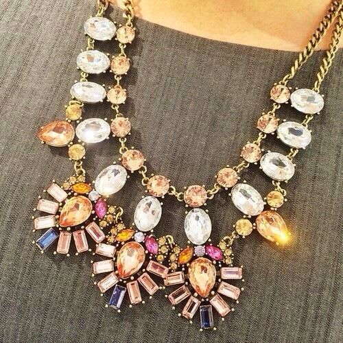 Opulent Faux Stone Bib Necklace,