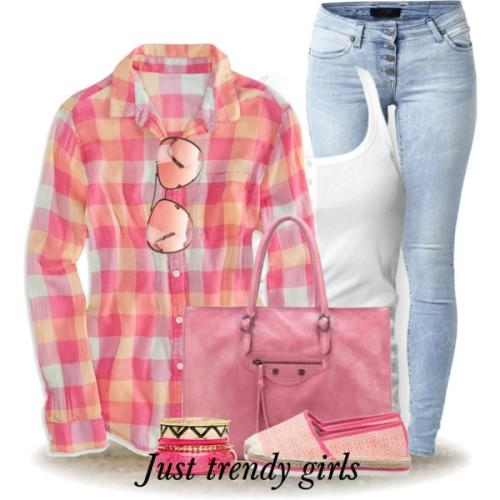 colorful checked shirt outfit