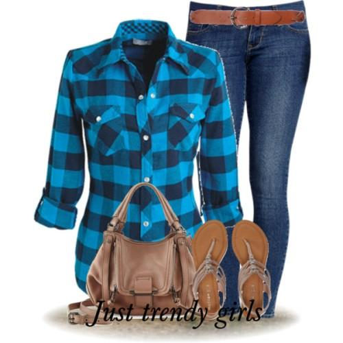 blue checked shirt with denim
