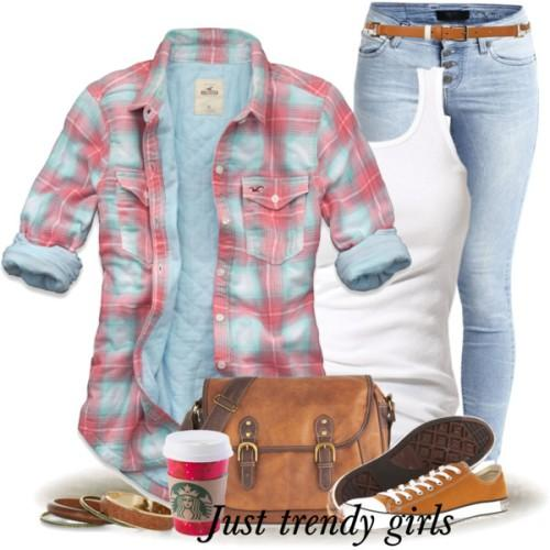 cute checked shirt outfit