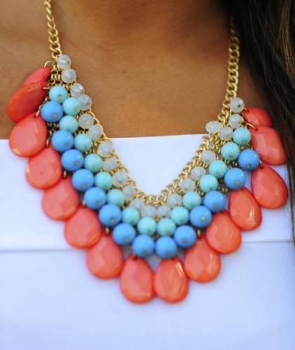 coral rainbow necklace