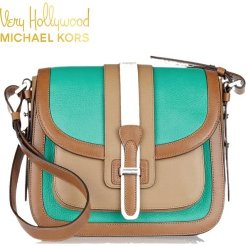 michael kors amazing shoulder bag in green and beige