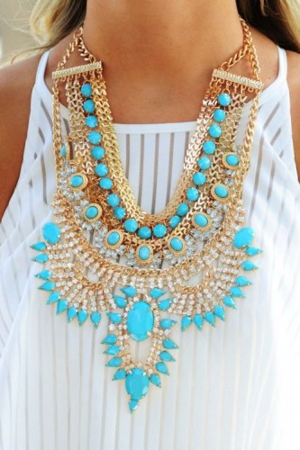 blue chunky statement necklace