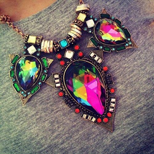 colorful crystal necklace