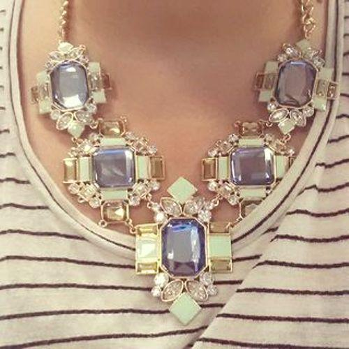 crystal shapes statement necklace