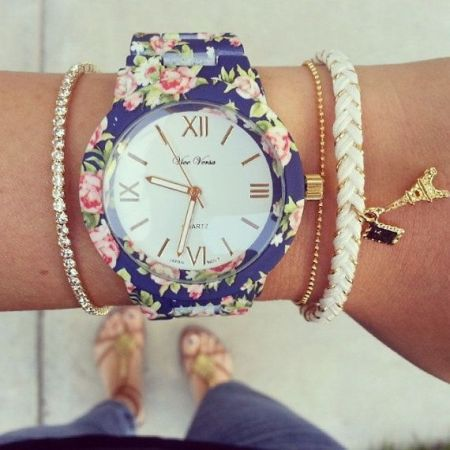 اكسسواراتك floral-blue-watch.jp