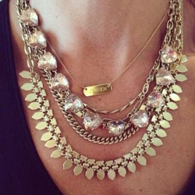 golden layered statement necklace