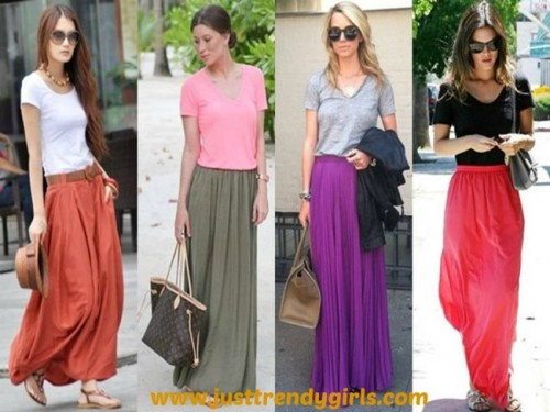 maxi skirts ideas on the street