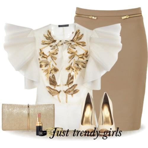 pencil skirt with white blouse,