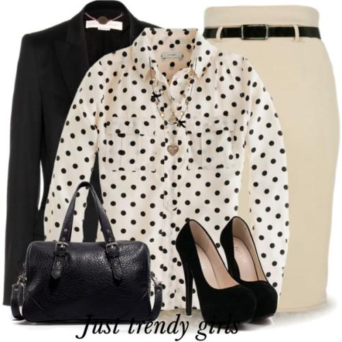 polka dots blouse outfit
