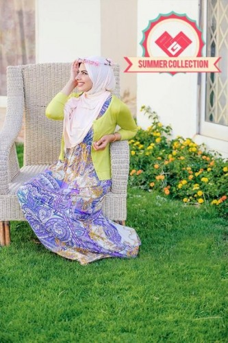printed maxi dress with long cardigan.,